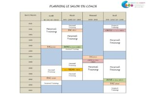 Cours de coaching au planning