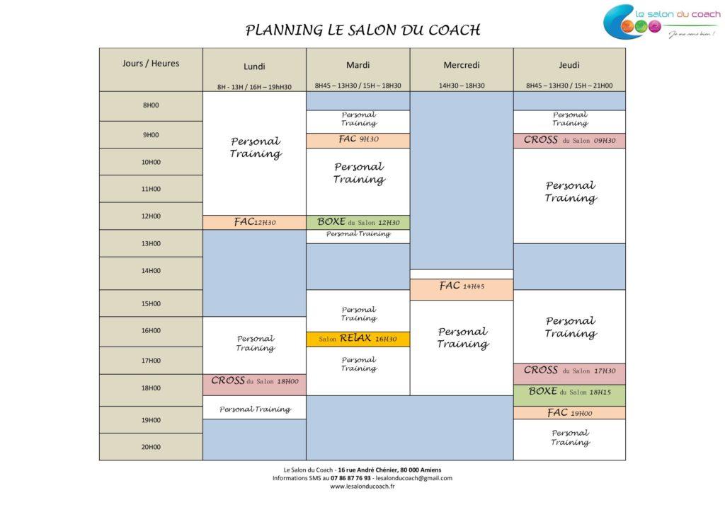 Planning de notre salle de sport