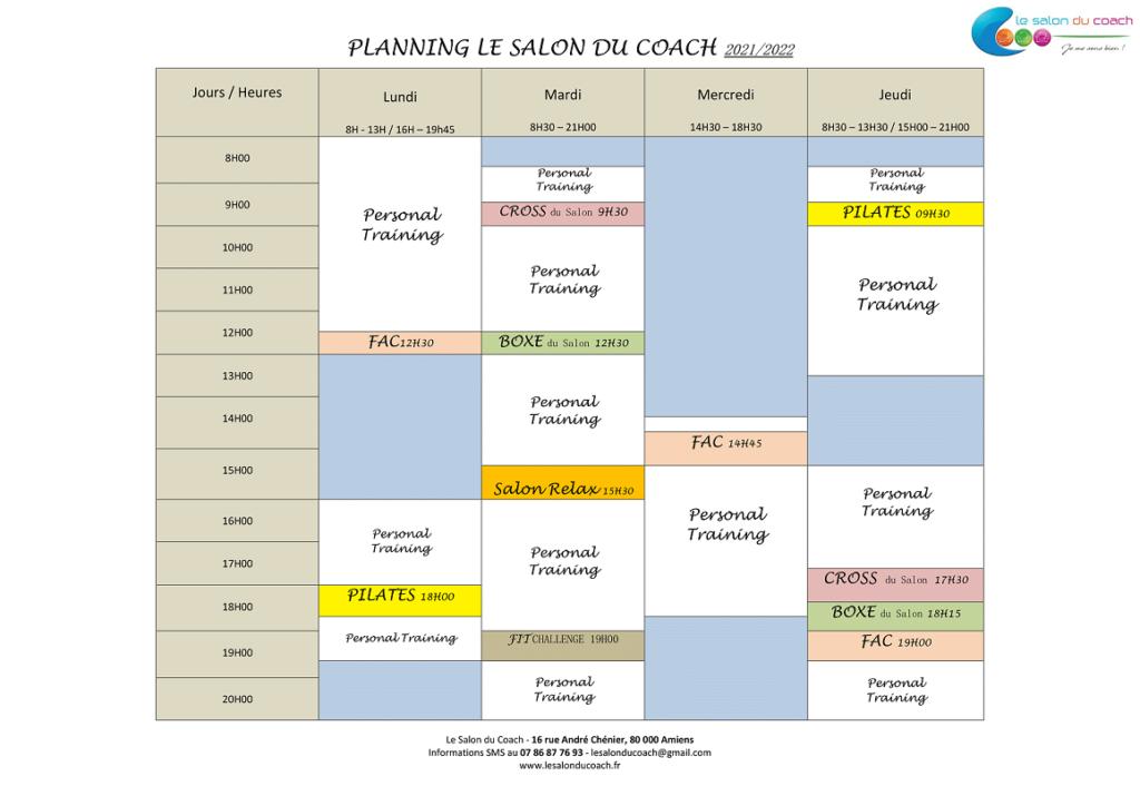 Planning des cours, rentrée septembre 2021
